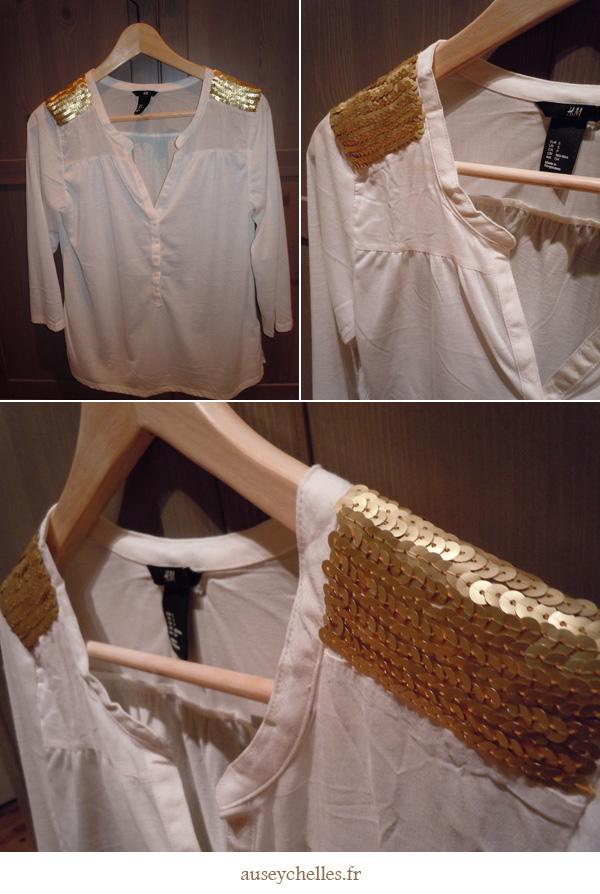 blouse pailletée finie