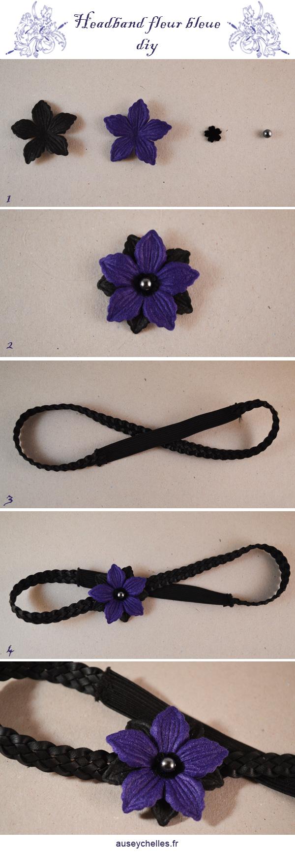 headband fleur bleue tutoriel