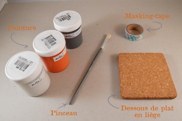 DIY dessous de verres en liège matériels