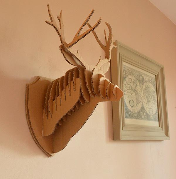 tête de cerf 3D en carton mur auseychelles.fr