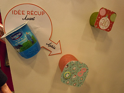 Salon CSF 2015 - idée DIY récup pot de yaourt pour calendrier de l'avent