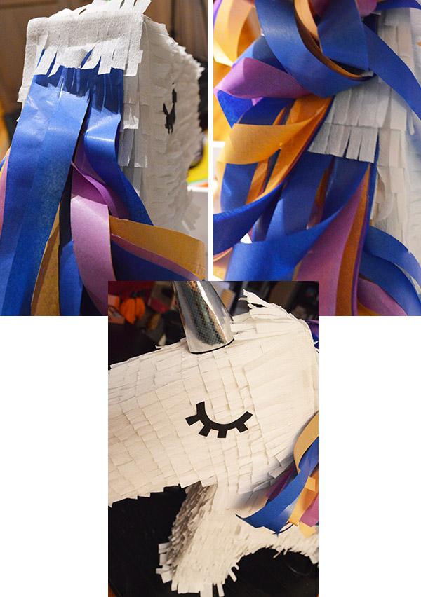 zoom détails crinière et corne pinata licorne DIY